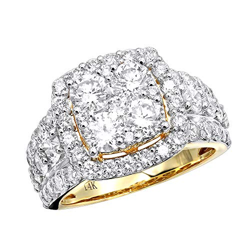 Large Halo Diamond Engagement Ring Cushion Cut and Round Shape Diamonds in 14K Gold 4ctw G-H color (Cushion Cut Halo Diamond Engagement Ring In Platinum)
