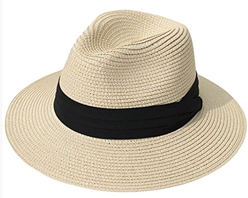 Sun Hats, Women Beach Hat Fedora Panama Hat Summer Straw Cap Wide Brim Foldable, Circumference 21 -