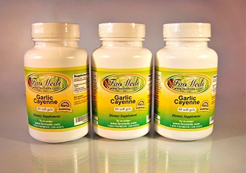 Garlic Cayenne, Made in USA - 180 (3x60) - 180 Garlic Softgels