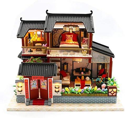 Nifera DIY Miniature Dollhouse Kit Christmas The Girlish Dream Wooden Furniture Kit Mini DIY Building Model Assembling Chinese Style Siheyuan Best Birthday for Women and Girls Safety / Nifera DIY Miniature Dollhouse Kit Christmas T...