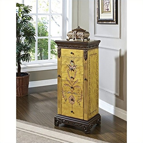 Powell Masterpiece Handpainted Wood Jewelry Armoire, Antiqued Parchment Hand Painted Floral Jewelry Armoire
