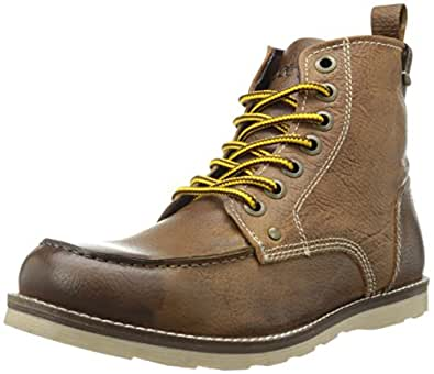Crevo Men's Buck Fashion Boot, Caramel Leather/Beige, 8 M US