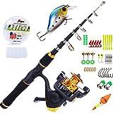 YONGZHI Kids Fishing Pole Spinning Reels,Telescopic Fishing Rod,Shoulder Pocket,Manual,Full Kits Tackle Box Travel Freshwater Bass Trout Fishing