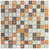 MTO0391 Stacked Squares White Brown Orange Glossy Matte Glass Mosaic Tile