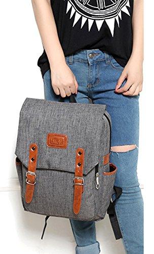 Tibes Zaino Della Scuola Zaino Ragazza Zaino Donna Backpack Schoolbag Grigio
