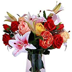 MARLLES Artificial Flowers Mixed Bouquets - Include Lifelike Big Blooms Fake Roses, Pink Silk Lilies for Mother's Day, Anniversary, Birthday, Graduation, Wedding Home Decoration 8