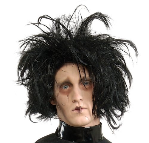Edward Halloween Costume (Edward Scissorhands Adult Costume Wig, Black, One Size)