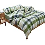 Luxury Green Plaid Duvet Cover Set Twin Boys Girls Summer Bedding Set 3 Piece Washed Cotton Duvet Comforter Cover Set Luxury Twin Bedding Collection 1 Duvet Cover with 2 Pillowcases for Kids Adults