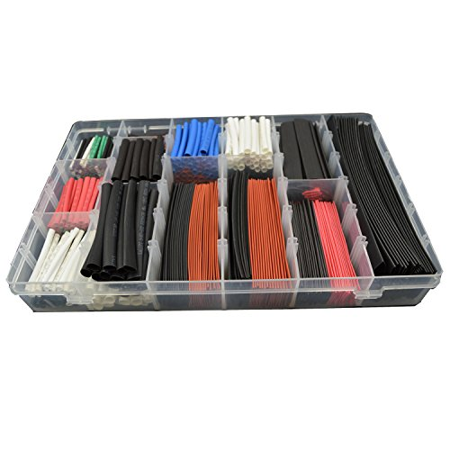 URBEST®610 Pcs Assorted Heat Shrink Tube 5 Colors 12 Sizes Tubing Wrap Sleeve Set Combo