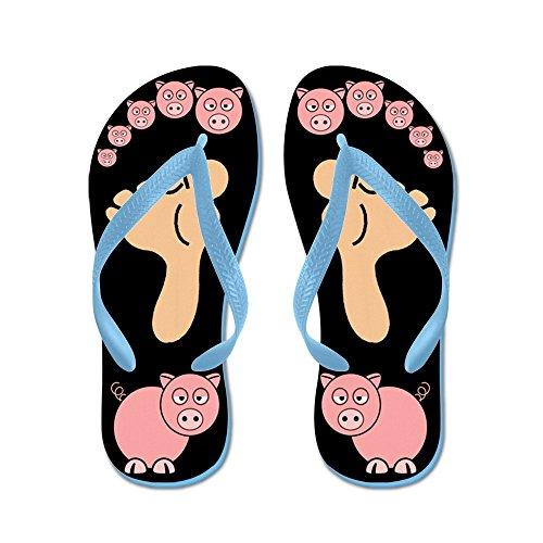Cafepress Denna Lilla Piggy - Flip Flops, Roliga Rem Sandaler, Strand Sandaler Caribbean Blue