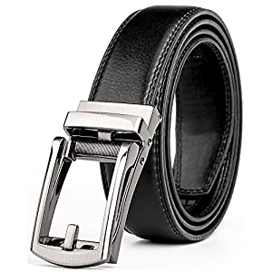 WERFORU Leather Ratchet Dress Belt for Men Perfect Fit Waist Size up to 50 inches with Automatic Buckle