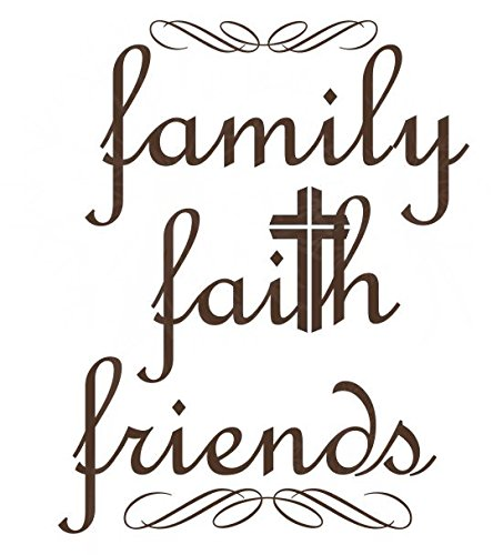 19 x 23, 19x23-inch Wall Decor Plus More WDPM3889 Family Faith Friends Religious Words Wall Art Decal Stickers Chocolate