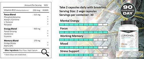 Lumonol Original (60ct) Elevate Overall Cognitive Performance, Upgrades Your Memory, Focus, Processing Speed and Overall Brain Functions. Featuring The World's Most Effective Nootropic with Potency by Lumonol (Image #3)