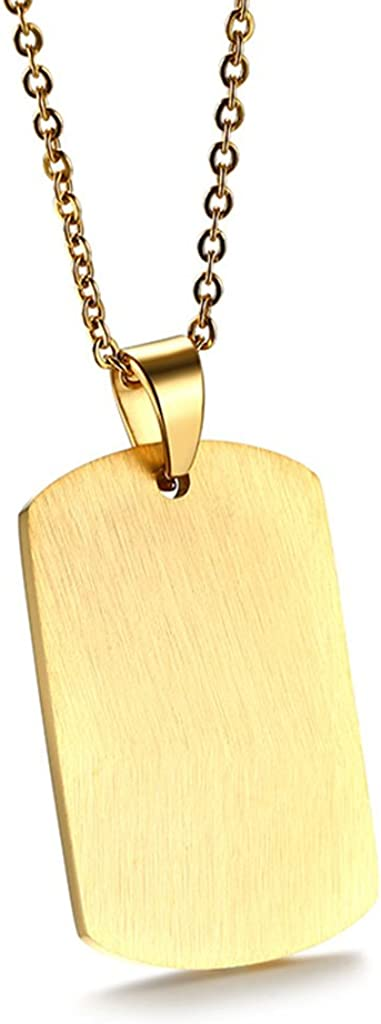 Bonarty Rectangle Dog Tag Rectangle DIY Engravable Pendant Medical Unisex Necklace