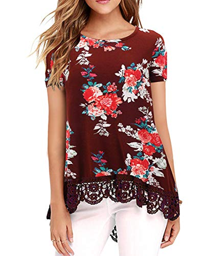 UUANG Women's Floral Print Casual Blouse Elegant Vintage Tunic Tops (Floral Wine,L)