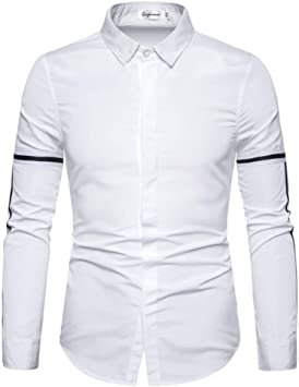 CHENS Camisa/Casual/Unisex/M Camisas Hombre Manga Larga Camisa Regular fit Moda Blusa de Manga Larga Top Camisa de Vestir de Negocios Blanco: Amazon.es: Deportes y aire libre