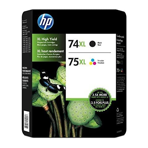 HP 74XL / 75XL Black & Tri Color Ink Cartridge Combo Pack (74xl Hp Ink)