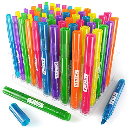 Arteza Highlighters Set of 60, Bulk Pack of Colored Markers, Wide and Narrow Chisel Tips, 6 Assorted Neon Colors, for Adults & Kids by ARTEZA (Image #5)