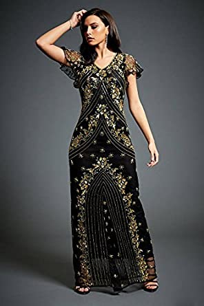 Twinkle – Embellished 1920S Gatsby Black Gold Floral Evening Maxi Dress (XXL)