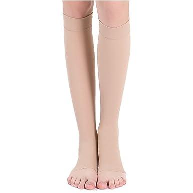 eb8f7577e8 Amazon.com: Fenta Elastic Compression Open Toe Men Women Knee High Socks  Leg Support Stockings: Clothing
