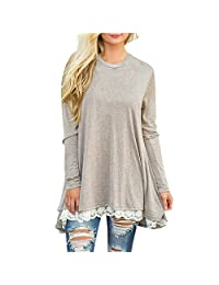 Fashion Story Women's Casual Lace Long Sleeve T-Shirt Dress