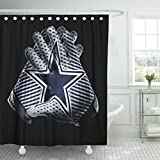 Ladble Rugby Decor Shower Curtain Set with Hooks Dallas City Cowboys Football Team Sports Receiver Gloves 72 X 78 Inches Waterproof Mildew Proof Polyester Bathroom