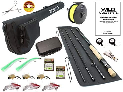 Wild Water Fly Fishing 9 Foot, 4-Piece, 7 8 Weight Fly Rod Deluxe Complete Fly Fishing Rod and Reel Combo Starter Package with Saltwater Flies