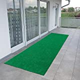 Ottomanson Evergreen Collection Indoor/Outdoor Green Artificial Grass Turf Solid Design Runner Rug, 2'7' x 8',