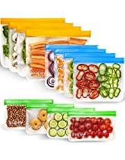 [12 Pack] Reusable Snack Bags Keep Food Fresh, Easy Ziplock Bags are Durable and Food Grade, Reusable Freezer Bags and Leak Proof, Hand Washable and Eco-Friendly, A Gift for Your Kitchen