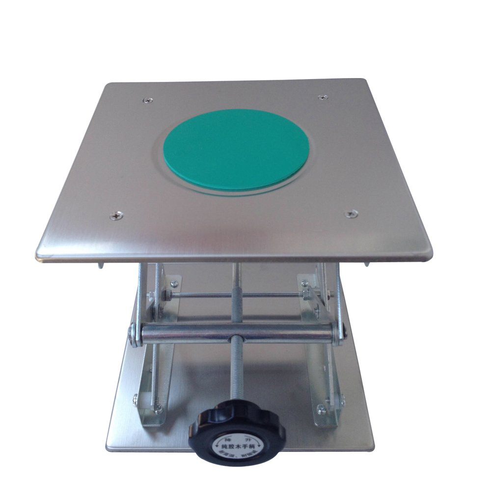 BIPEE Lab Jack Lifting Scissor Stand Platform, 8 x 8 inches Stainless Steel, Max. Height 11 inches
