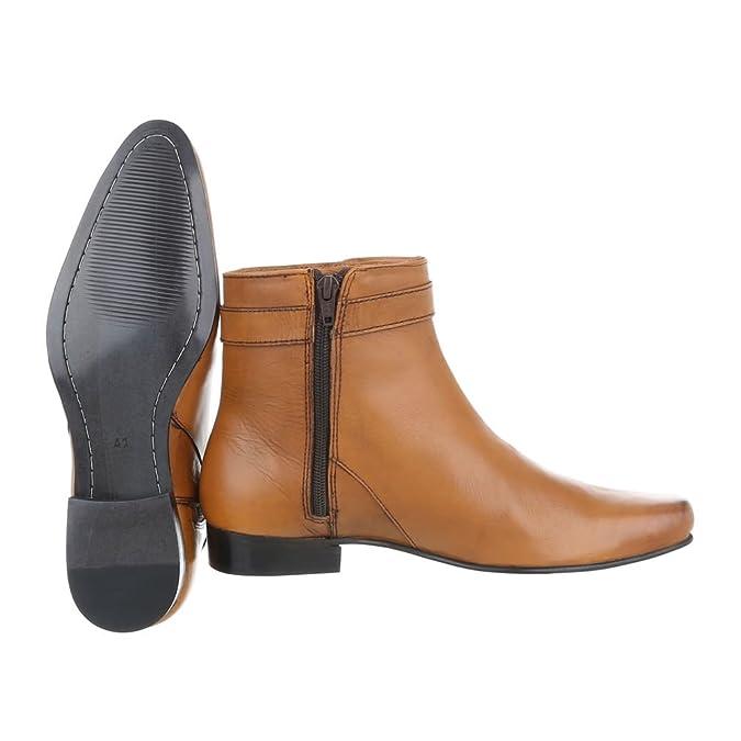 a075276a481a Ital-Design Stiefeletten Leder Herrenschuhe Chelsea Boots Blockabsatz  Blockabsatz Reißverschluss Boots