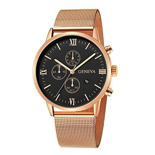 HHei_K Mens Luxury Fashion Date Sport Analog Quartz Wrist Watch - Stainless Steel Mesh Band - Office Work School Watch -