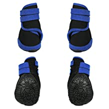 abcGoodefg® 4pcs Pet Dog Waterproof Nonslip Sport Shoes Sneaker Boots Rubber Sole for Medium/Big Dogs (L, Blue)