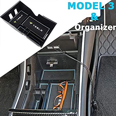 Topfit Tray for Tesla Model 3 Model Y Center Console Organizer Bin Storage Box Coin and Sunglasses Holder Premium Interior Parts (Blue): Automotive