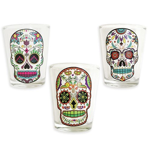 Sugar Skull Shot Glass Clear Set of 3