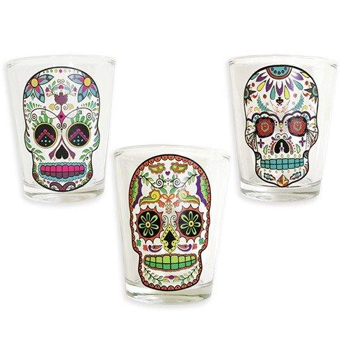 Sugar Skull Shot Glass Clear Set of 3 ()