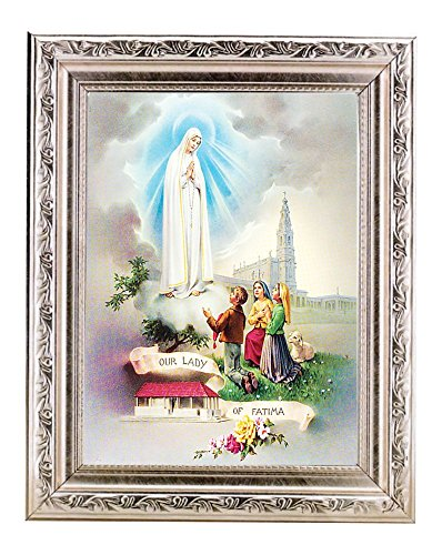 Bertof OUR LADY OF FATIMA 8.25 x 10.25 Wood Framed Italian Art With Exclusive Copyrighted Paul Herbert Blessing (Silver)
