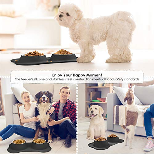 URPOWER Dog Bowls Stainless Steel Dog Bowl with No Spill Dog Food Bowl Non-Slip Silicone Mat Feeder Bowls Pet Bowl for Puppy Small Medium Dogs Cats and Pets