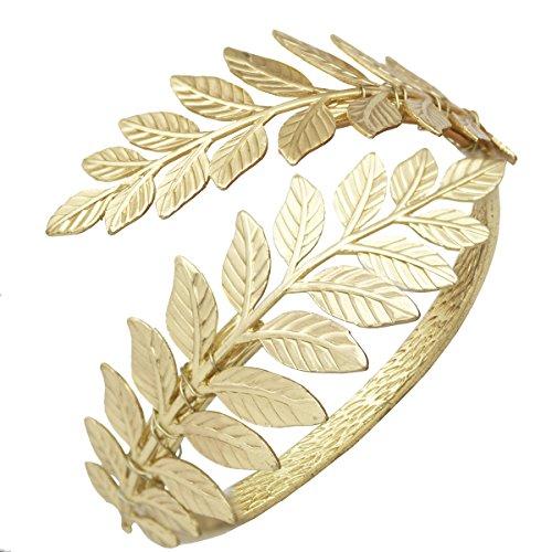 Greek Dress Roman (Gold Tone RechicGu Greek Roman Laurel Leaf Bracelet Armband Upper Arm Cuff Armlet Festival)