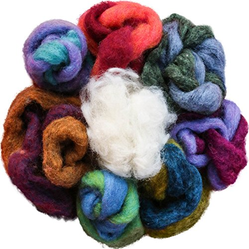 100% Wool - Assorted Wool Roving Ends & White Natural Wool for Needle Felting ()