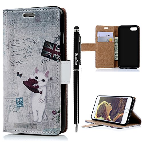 [iPhone 7 Case (4.7 inch) - Wallet Folio Flip Premuim PU Leather Case Colorful Print Design with Stand Magnetic Closure Card Slots and Slim Fit Shock-Absorption TPU Inner Cover & Stylus Pen by] (The Shining Couple Costume)