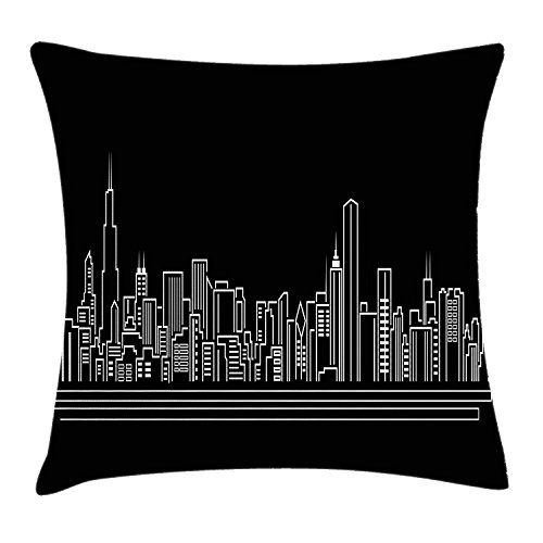 Chicago Skyline Throw Pillow Cushion Cover, Line Abstract Style Urban Silhouette of Popular American Town Office Print, Decorative Square Accent Pillow Case, 18 X 18 inches, Onyx White