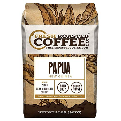 Fresh Roasted Coffee LLC, Papua New Guinea Coffee, Medium Roast, Whole Bean, 2 Pound Bag