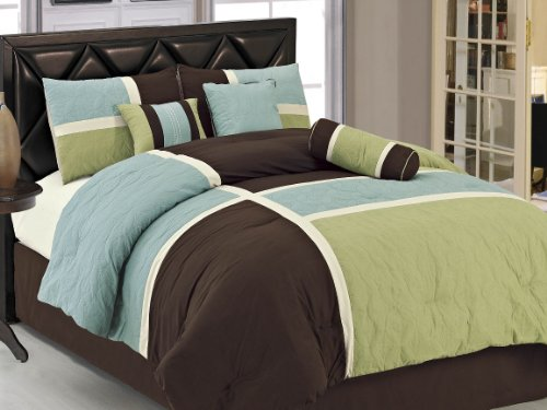 Chezmoi Collection 7-Piece Coffee Quilted Patchwork Comforter Set, Queen, Aqua Blue Sage (Green Queen Comforter Set)