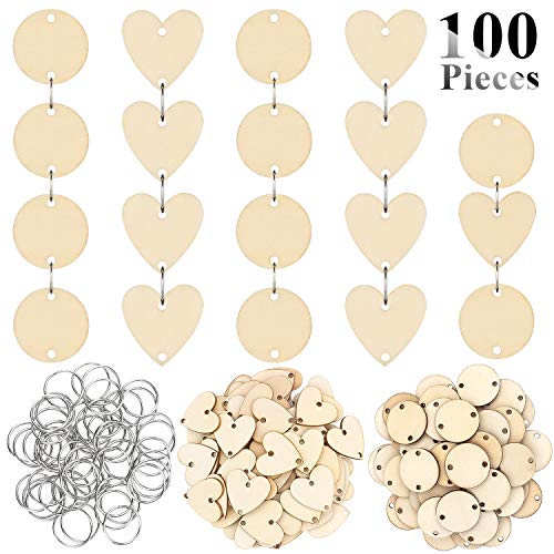 Favordrory 3CM Wooden Tags with Holes and 12 mm Rings for Birthday Boards, Valentine, Chore Boards, Arts and Crafts (Round Shaped + Heart Shaped)