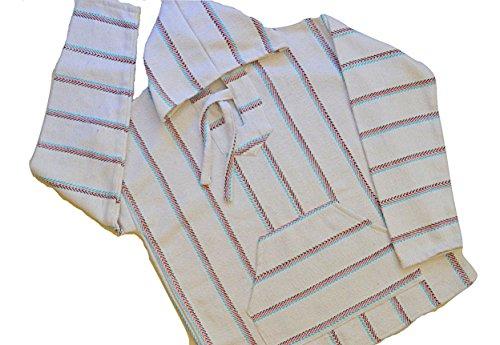 Mexican Baja Hoodie Pullover Jerga Drug Rug Sweater - red mint black stripe on white (Xlarge)
