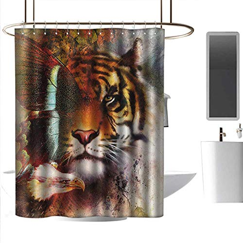 Shower Curtains Black and Gray Tiger,Various Symbols of Nature Large Bengal Cat Bald Eagle Butterfly on Vibrant Backdrop,Multicolor,W48 x L72,Shower Curtain for Women
