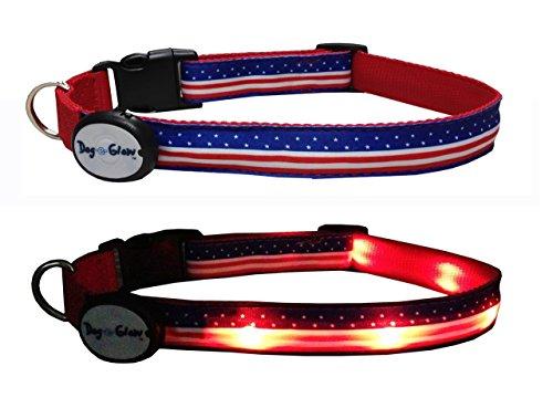 American Flag LED Light Up Dog Collar, Medium/10-15-Inch