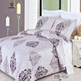 LUXURIOUS Gizelle White 8 Piece (8PC) Full Size BED IN A BAG Set - 100% Egyptian Cotton 300 Thread Count Duvet Cover Set + Wrinkle Free Brushed Microfiber Bed Sheet Set & Super Soft All Season White Down Alternative Comforter