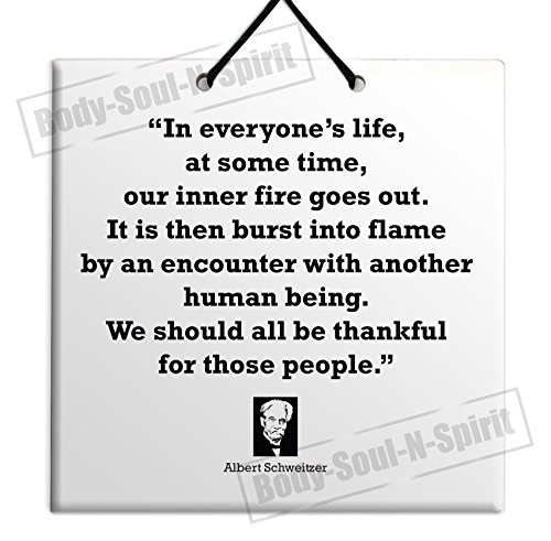 Albert Schweitzer Famous Quote Unique Home Decoration Design Gift Idea Sale - In everyone's life, at some time, our inner fire goes out. It is then burst into flame by an encounter with another human